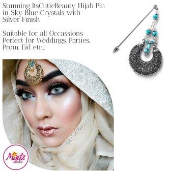 Madz Fashionz UK: ItsCutieBeauty Kundan Hijab Pin Stick Pin Hijab Jewels Hijab Pins Silver Sky Blue