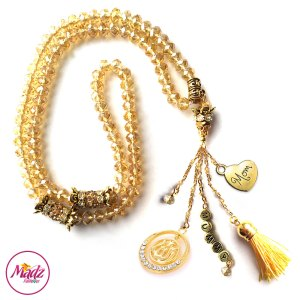 Madz Fashionz UK: 99 Beads Personalised Tasbeeh with Champagne Crystals in Gold Finish