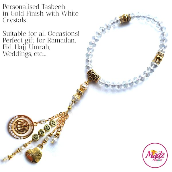 Madz Fashionz UK: 33 Beads Personalised Tasbeeh with White Crystals in Gold Finish