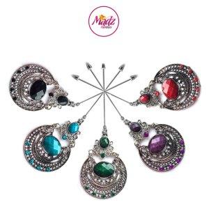 Madz Fashionz UK: Muqadaas Vintage Hijab Pin Hijab Jewels Stick Pins in Silver Finish