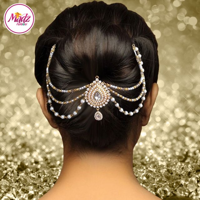 mehrani juda bridal hair bun headpiece gold white joora