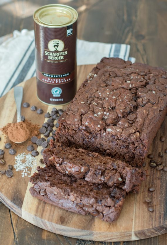 This Dark Chocolate Espresso Bread is packed with rich chocolate flavor and hints of espresso! An easy gluten free quick bread you will love!