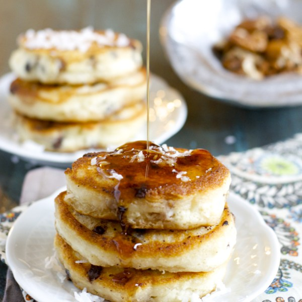 Magic Pancakes! Super fluffy pancakes packed with chocolate, coconut and pecans! BEST breakfast ever!