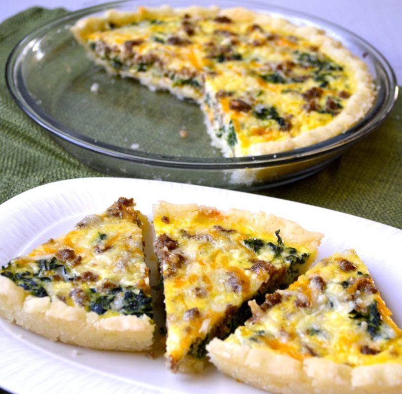Sausage and Spinach Quiche (gluten free)