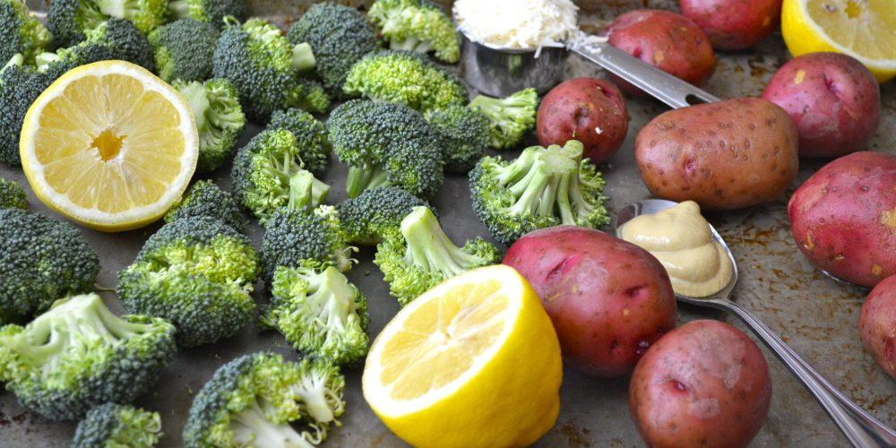 Lemon Dijon Roast Potatoes and Broccoli