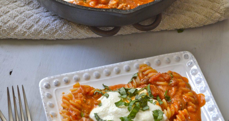 Three Cheese Pasta with Italian Sausage