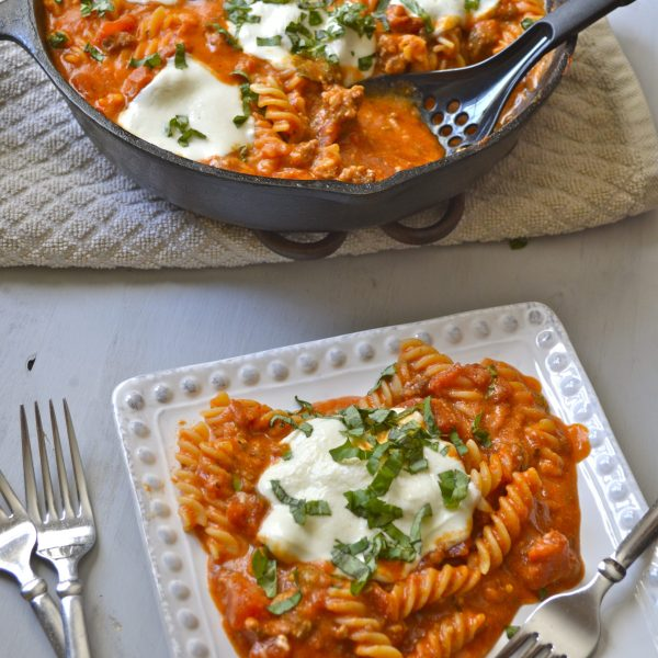 Three Cheese Pasta with Italian Sausage