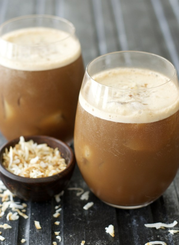 This easy Blended Coconut Mocha Frap combines creamy almond milk with chocolate, coconut and rich coffee for the perfect summer pick me up!
