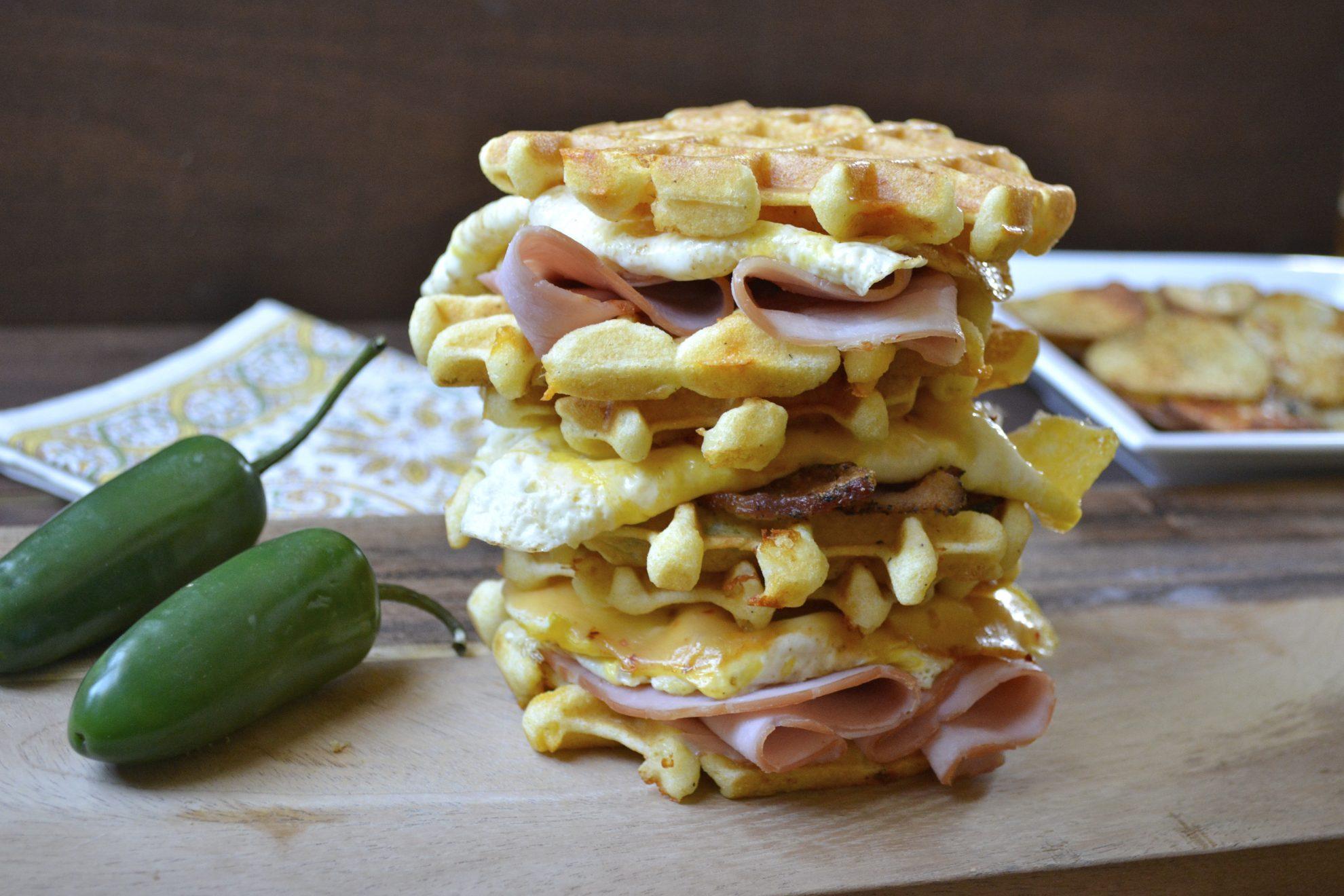 Jalapeño Cheddar Cornmeal Waffles - Maebells