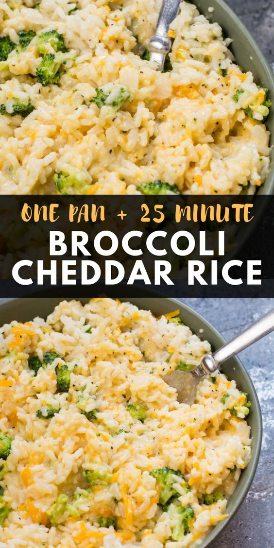 This creamy One Pan Broccoli Cheddar Rice is ready in under 30 minutes! The perfect easy side dish or a great gluten free meatless meal!