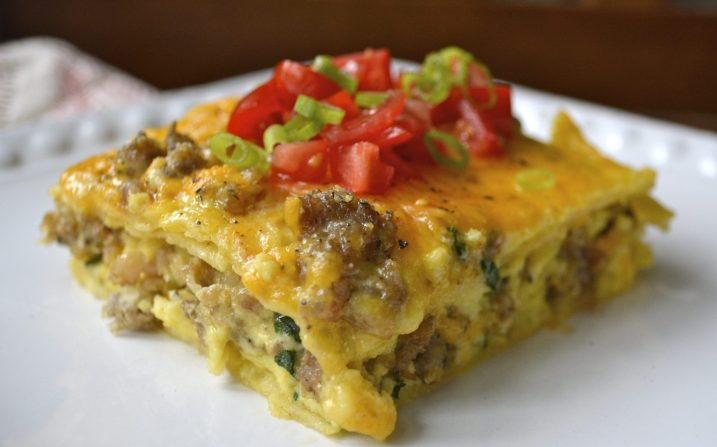 Sausage and Spinach Overnight Breakfast Casserole, super simple and gluten free!