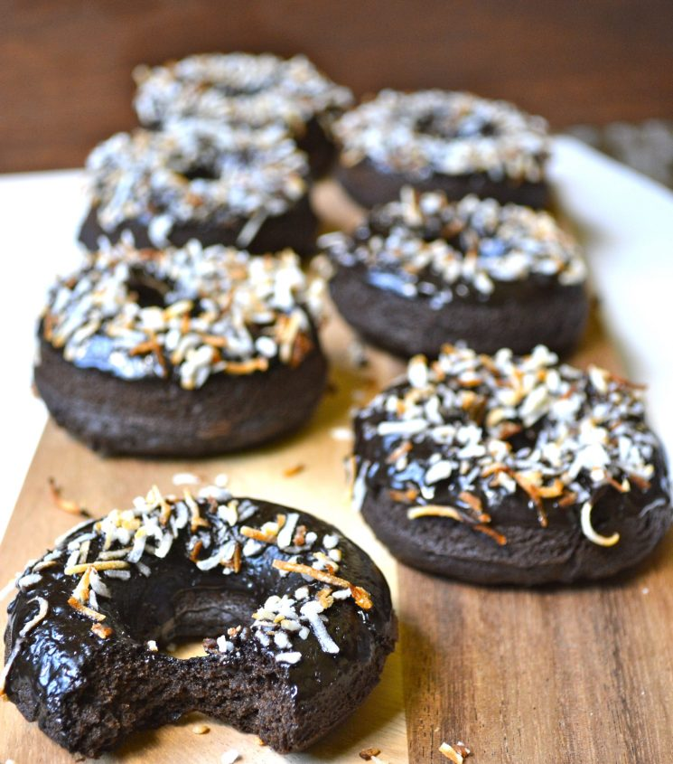 Dark Chocolate Coconut Mocha Donuts
