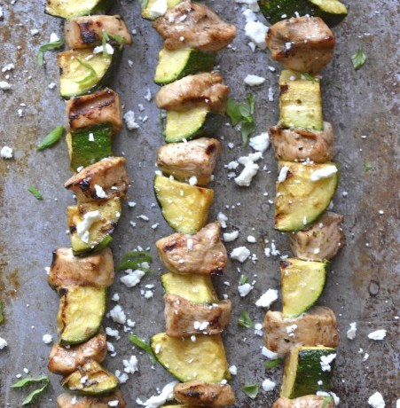 Balsamic Vinegar Grilled Chicken and Zucchini Skewers