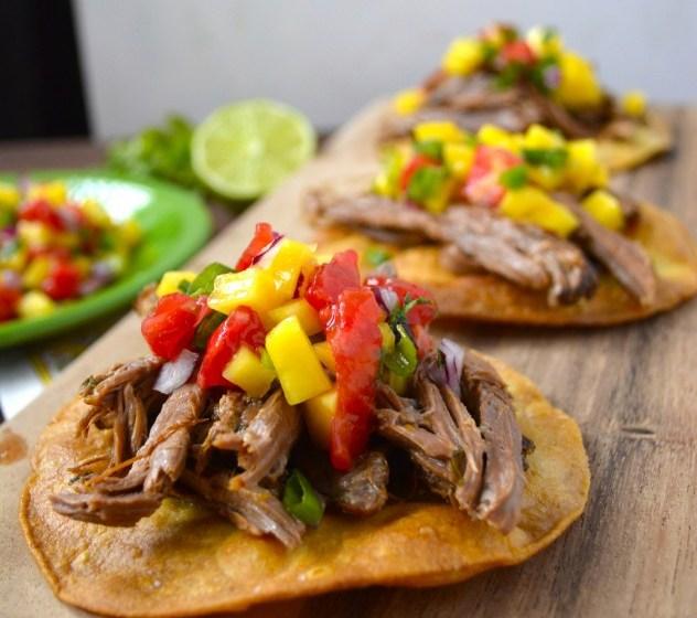 Slow Cooker Shredded Habanero Beef Tostadas with Mango Salsa
