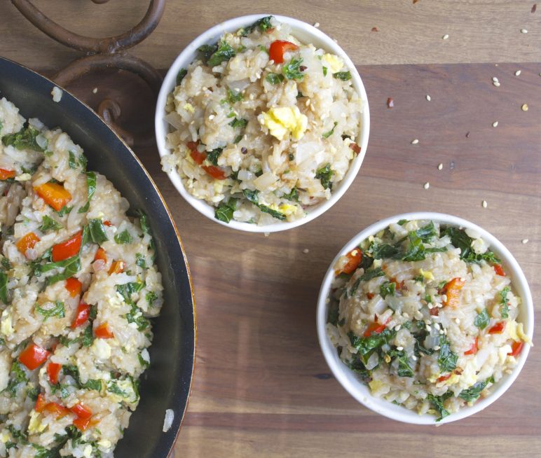Fried Rice with Kale and Roasted Red Pepper...a quick, easy dinner ready in less than 20 minutes!