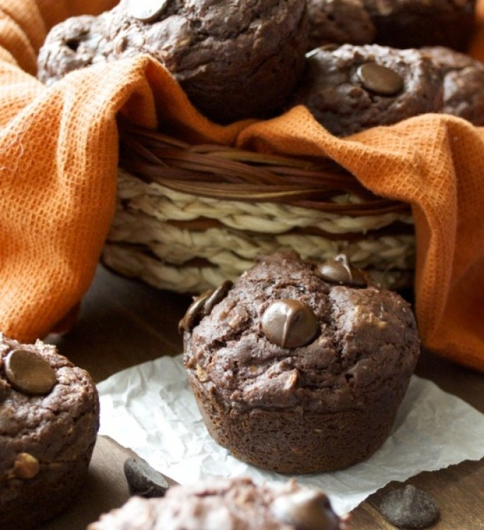 Double Chocolate Chunk Protein Muffins..very easy! You would never guess they are gluten free!
