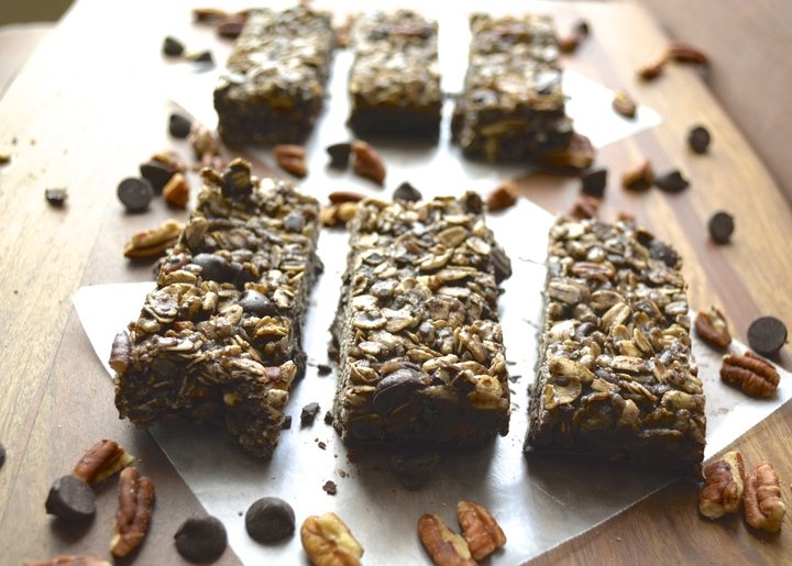 Double Chocolate Protein Bars with Coconut and Pecans. Gluten free, no bake, and delicious! www.maebells.com