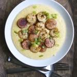Andouille Sausage Jerk Shrimp & Cheddar Grits
