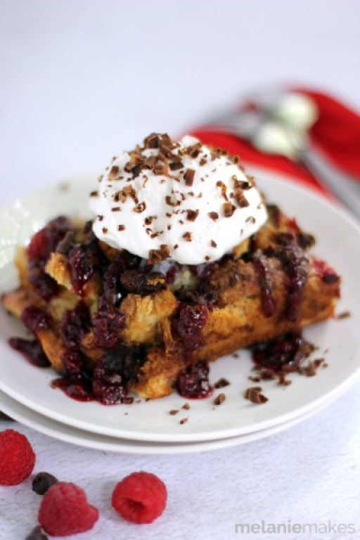 Chocolate Raspberry French Toast Casserole from Melanie Makes