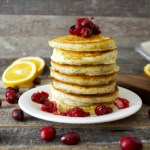 Orange Poppy Seed Pancakes with Cranberry Syrup