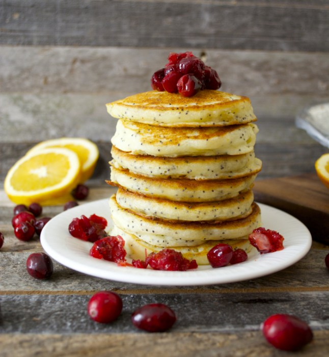 Light and fluffy Cranberry Poppy Seed Pancakes with Cranberry Syrup make the perfect Holiday breakfast!