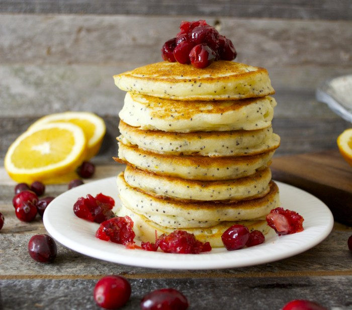 Orange Poppy Seed Pancakes with Cranberry Syrup Maebells