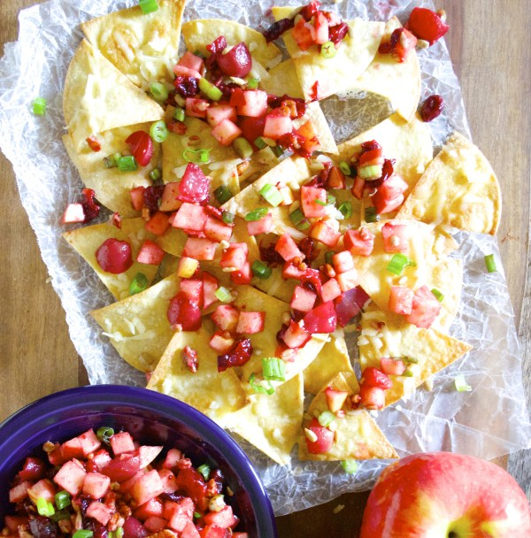 Ambrosia Apple Pico De Gallo is the perfect sweet and savory fruit salsa! Pair with White Cheddar Nachos for a beautiful snack!