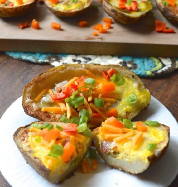 Cheddar Quiche Stuffed Potato Skins www.maebells.com