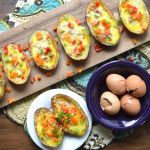 Cheddar Quiche Stuffed Potato Skins