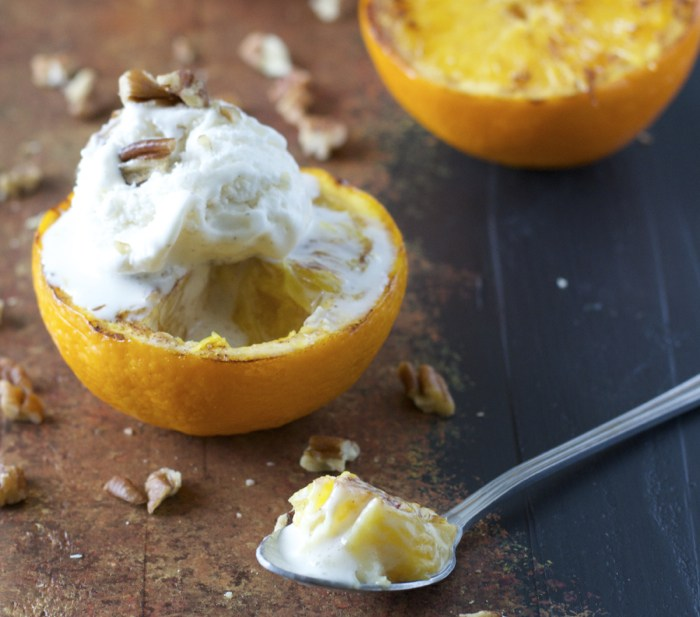 Ginger Grilled Oranges with Butter Pecan Ice Cream! Just two minutes to prepare and SO good!