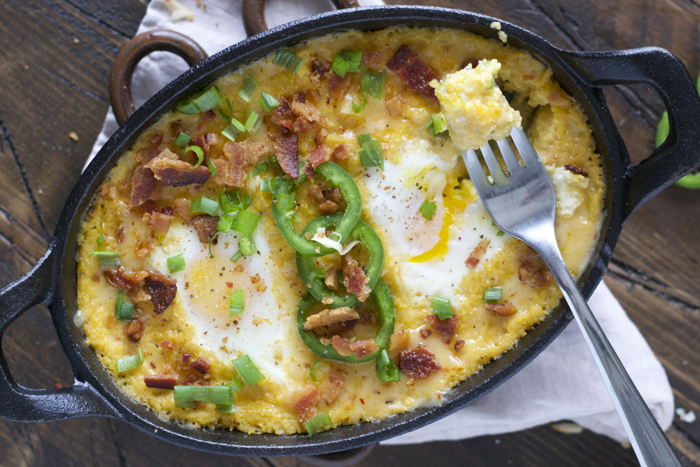 Baked Eggs and Cheesy Grits with Bacon and Jalapeño! The ultimate Southern breakfast!