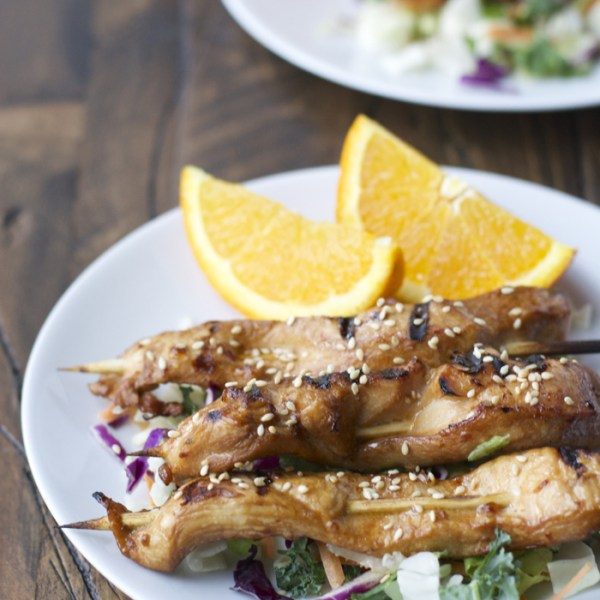 Grilled Sesame Orange Chicken Skewers! The perfect healthy, easy meal ready in just a few minutes!