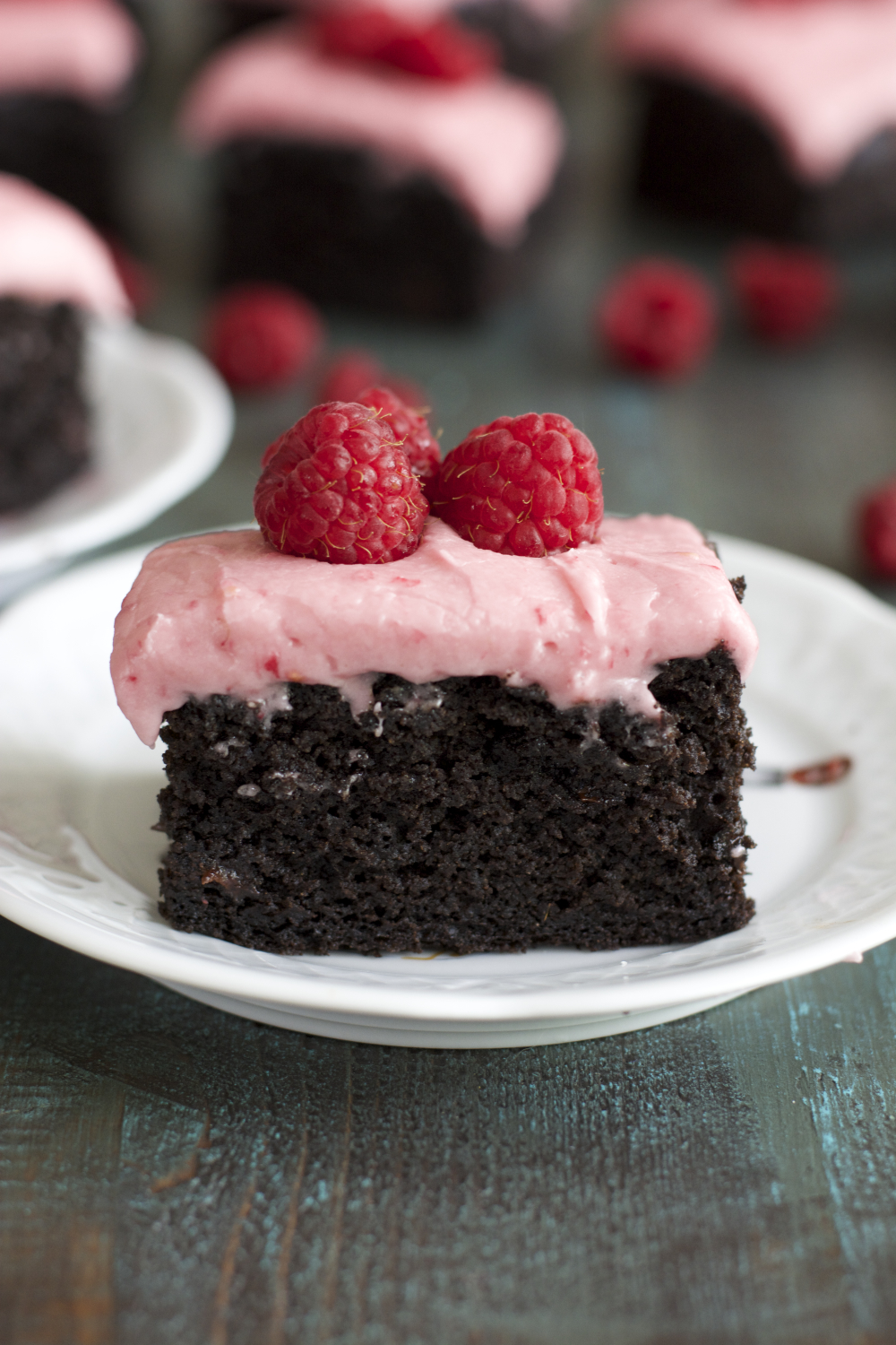 Dark Chocolate Brownies with Raspberry Frosting! Seriously  SO good!