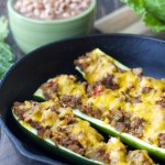 Cabbage and Black Eyed Pea Stuffed Zucchini Boats