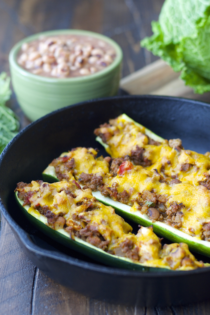 These Cabbage and Black Eyed Pea Stuffed Zucchini Boats are Southern comfort food at it's finest!