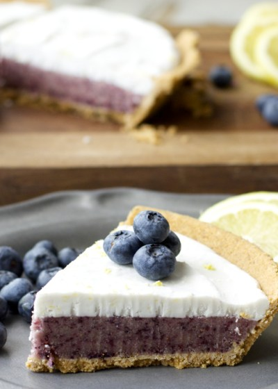 Blueberry Lemon Ice Cream Pie! Crazy easy and dairy free!