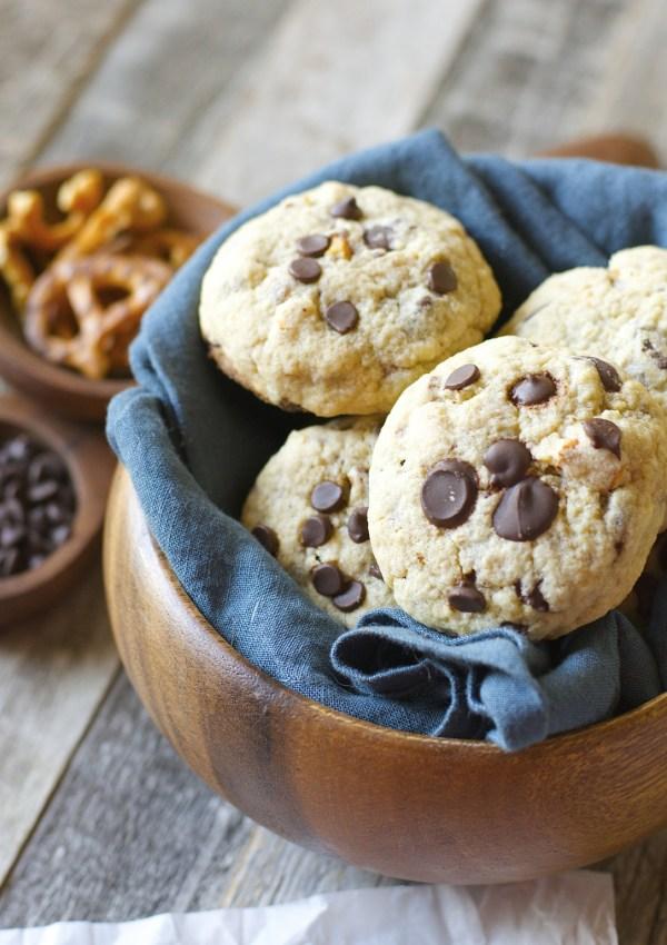 Dark Chocolate Chunk Salted Pretzel Cookies
