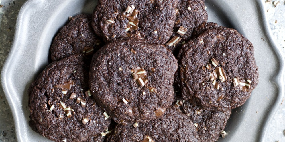Five ingredient gluten free Dark Chocolate Peppermint Cookies are packed with Andes mints for a perfect holiday treat!