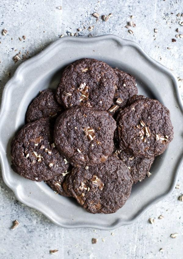 Dark Chocolate Peppermint Cookies (Gluten Free Cake Mix Cookies)