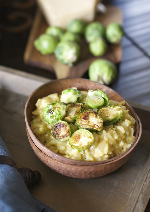 Crispy Brussels Sprout and Creamy Parmesan Risotto