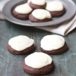 Red Velvet Cookies with Vanilla Cream Cheese Icing {gluten free}