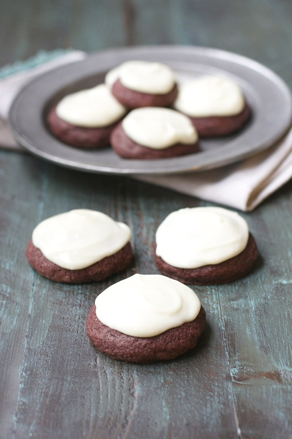 Gluten Free Red Velvet Cookies with Vanilla Cream Cheese Frosting!