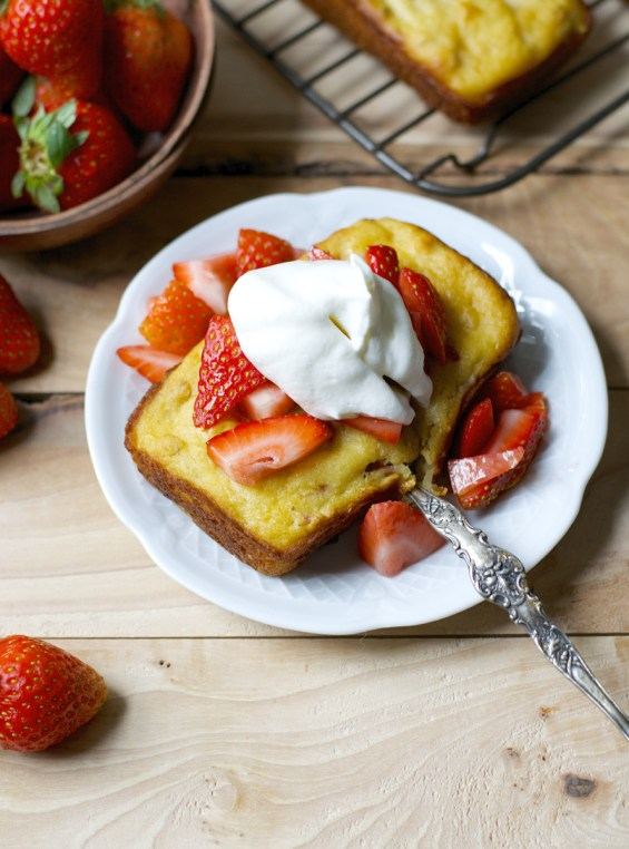 This easy gluten free Strawberry Shortcake bread is bursting with flavor and perfect with a dollop of fresh whipped cream!
