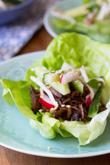 Slow Cooker Korean Beef Lettuce Wraps