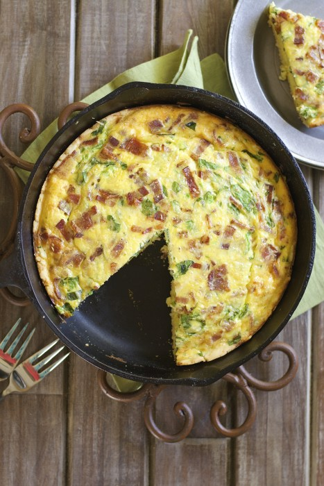 This Bacon Jalapeño Gouda and Spinach Quiche is an easy hearty dish your family will love! Loaded with crispy bacon, fresh jalapeño, shredded gouda and chopped spinach this will become a fast favorite!