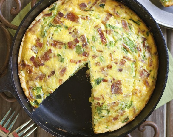 Bacon Jalapeno Gouda and Spinach Quiche