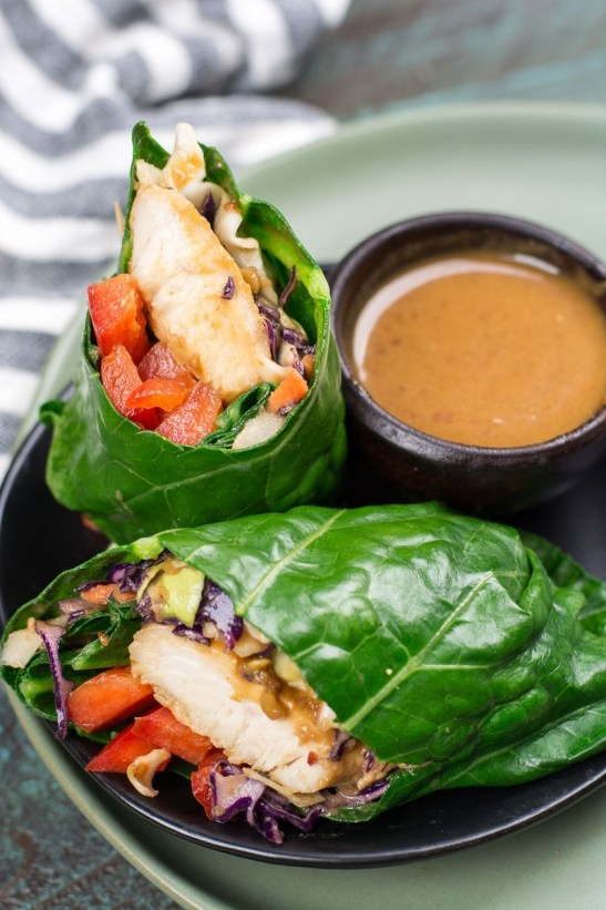 These Keto Thai Chicken Collard Wraps are an amazing low carb wrap packed with flavor and only has about 5 net carbs each!