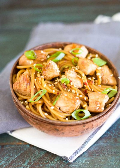 This Sesame Chicken Lo Mein is covered in a sweet sesame ginger and garlic sauce and ready in under 30 minutes!