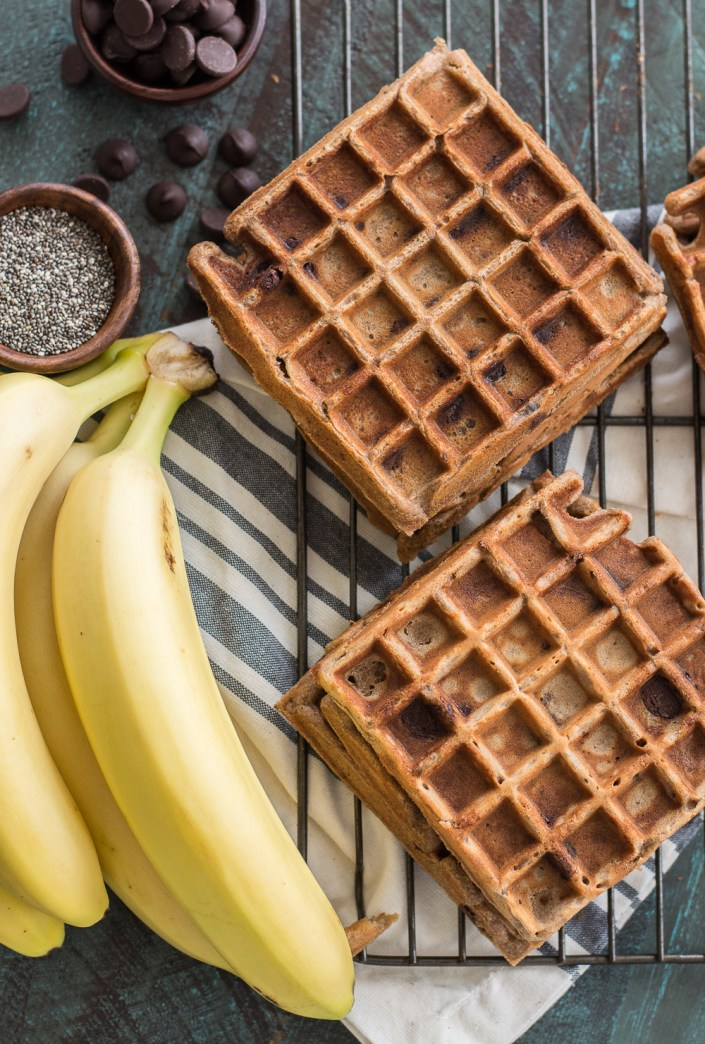 Flourless Peanut Butter Protein Waffles, the perfect gluten free breakfast packed with flavor!