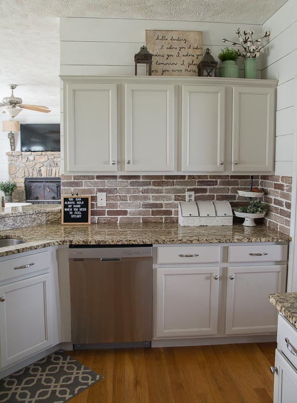 Update your kitchen with an Easy DIY Brick Backsplash! This affordable project is perfect for beginners who are looking for that classic farmhouse style!